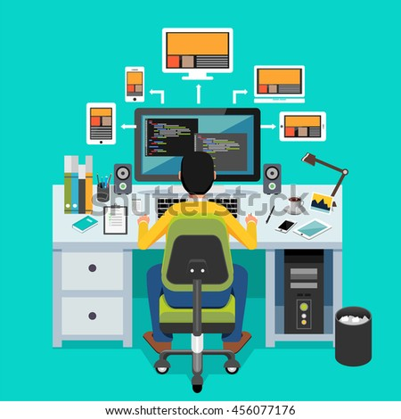 Website designer. Programmer working on desktop. - stock vector