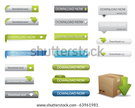 Website download buttons - stock vector
