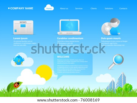 Website eco friendly business / cartoon stylish template. Ready to use webpage with logo, navigation, icons, buttons and other interface elements. Unique icons, unified style - stock vector