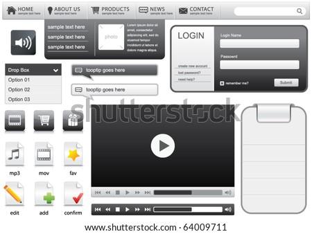 Website elements for web designers - stock vector