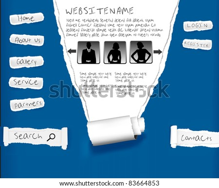 Website from blue ripped paper. Design template. Vector. - stock vector