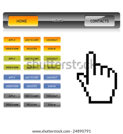Website glossy button bars template - stock vector
