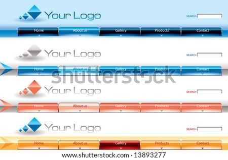 Website glossy Vista button bars template - stock vector