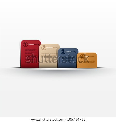 Website, graphic design, diagram, four message card in cut paper - color card template - stock vector
