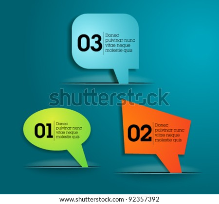 Website, graphic design paper crafts, bubble tags - blue template - stock vector