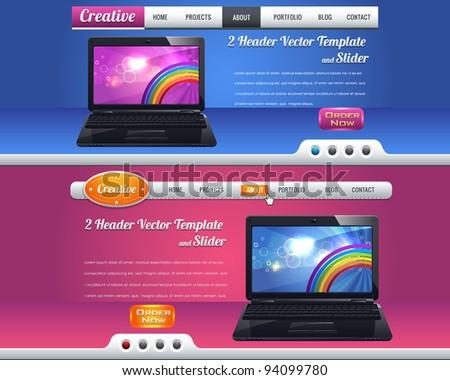 Website header and slider design vector elements - stock vector