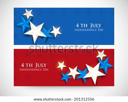 Website header or banner design for 4th of July, American Independence Day celebrations. - stock vector
