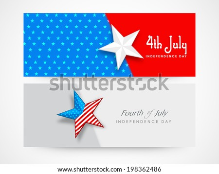 Website Header or Banner design with stars on national flag colours background for 4th of July, American Independence Day celebrations.  - stock vector