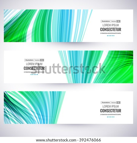 Website header or banner set, Abstract wavy lines.Vector illustration for your business presentations. EPS10. - stock vector