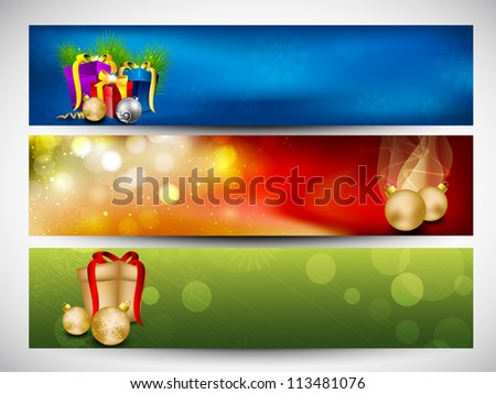 Website header or banner set decorated with evening balls, snowflakes and lights. EPS 10. - stock vector