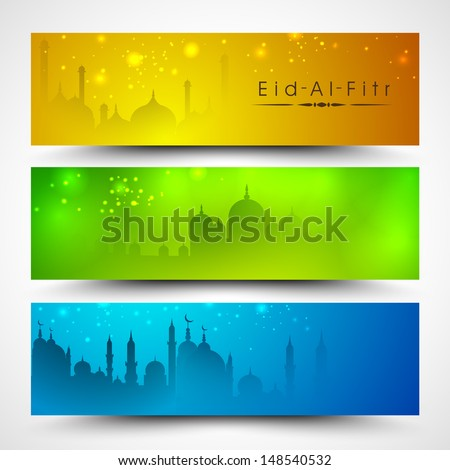 Website header or banner set for Muslim community festival Eid Mubarak. - stock vector