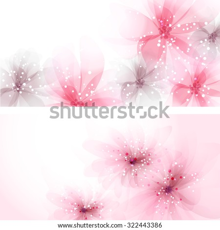 Website header or banner set with beautiful floral design. EPS 10. Contains transparent objects. - stock vector