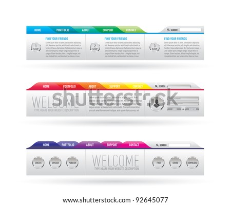 website header with navigation menu - stock vector
