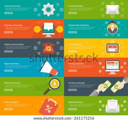 Website Headers or Promotion Banners Templates and Flat Icons Design. Digital marketing megaphone, Market monitoring magnifier glass, On-line shopping bag. Vector Illustration.  - stock vector