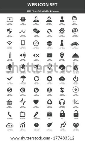 Website Icons,Black version,vector - stock vector