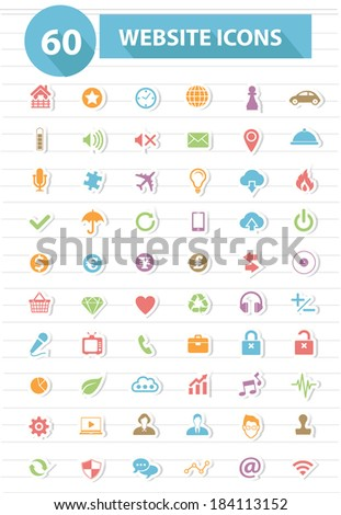 Website icons,Colorful version,vector - stock vector