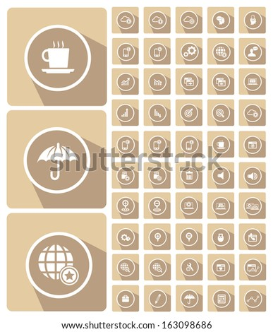 Website icons,Mobile and technology icons,cream version,vector - stock vector