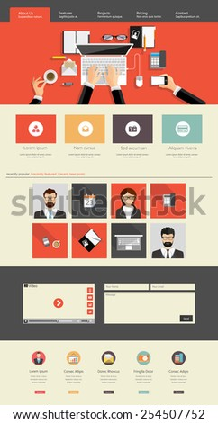 Website interface template- one page and set of buttons and flat icons. Modern flat style. Vector - stock vector