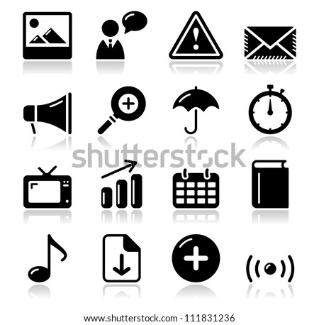 Website internet glossy sqaure icons set - stock vector