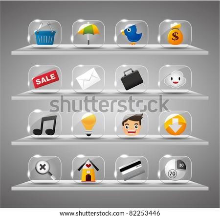 Website Internet Icons ,Transparent Glass Button - stock vector
