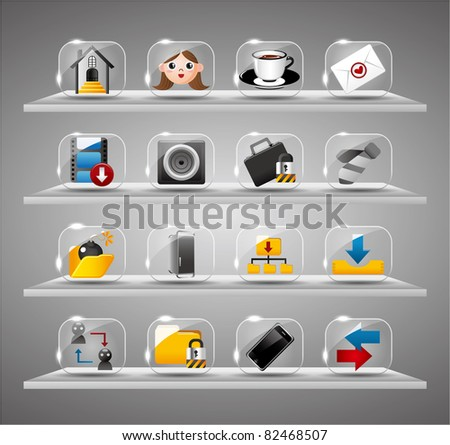 Website Internet Icons ,Transparent Glass Button - stock vector