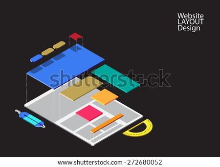 Website isometric mock-up concept, Prototype website design for smart device, smartphone, tablet and computer. vector illustration - stock vector