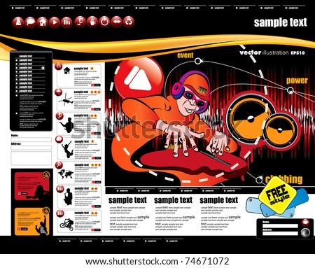 Website layout with music event subject - stock vector