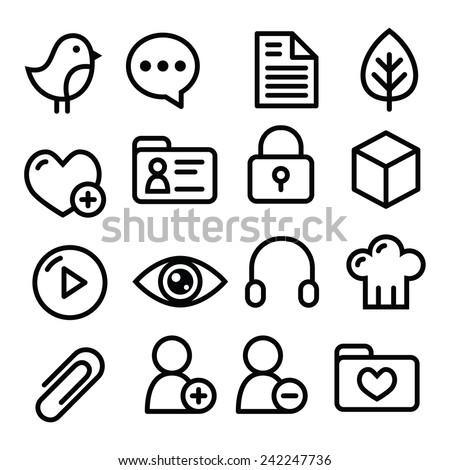 Website menu navigation line icons - social media, blog, web page  - stock vector