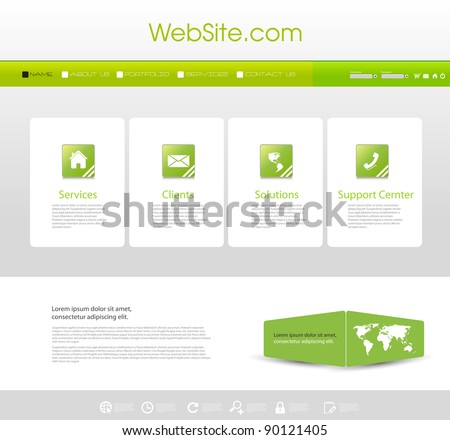Website Menu template with icons set - stock vector