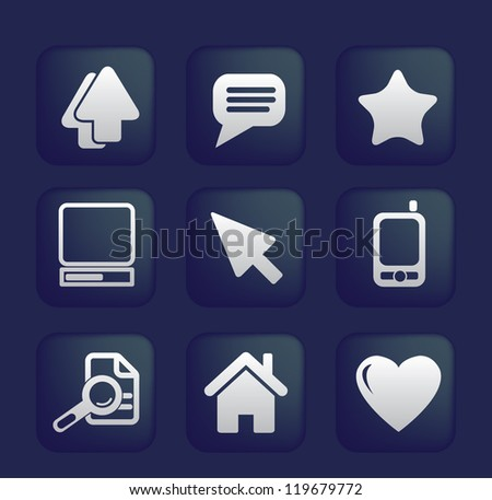 website, mobile apps signs, icons set, vector - stock vector