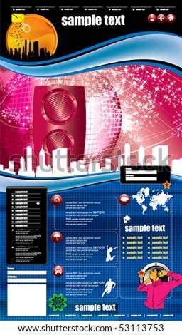 Website music template - stock vector
