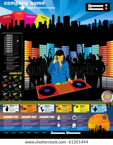 Website music vector template - stock vector