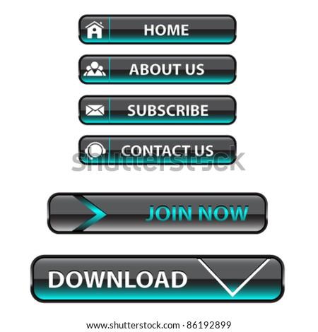 Website navigation rectangle buttons,vector. - stock vector