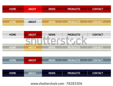 website navigation set - stock vector