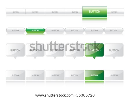 Website Navigation Templates - dark green - stock vector