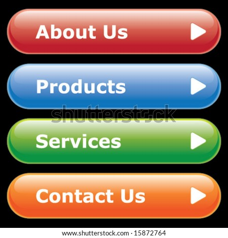 Website or interface button template.  Customize with your own text. - stock vector