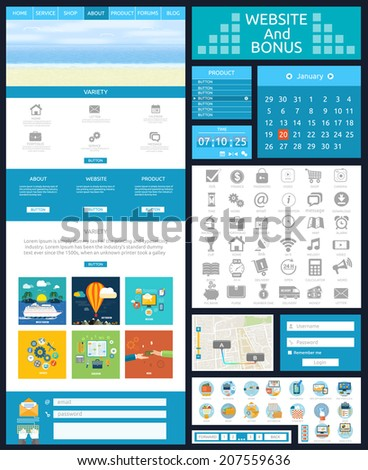 Website page template. Web design. Set of web page with icons for different websites in flat style. One page website flat ui and ux kit elements icons - stock vector