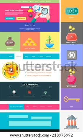 Website page template. Web design. Set of web page with icons for different websites in flat style. One page website flat ui and ux kit elements icons. Money concept - stock vector