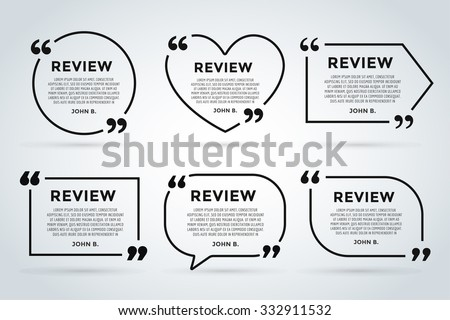 Website review quote citation blank template. Website review vector icon. Quote comment template. Quote bubble. Shop customer review template. Circle review template, paper sheet, information, text - stock vector