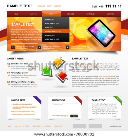 Website Template 4. Color variant 3 - stock vector