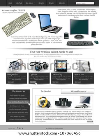 Website template design along with icons and images  Computer and technology related  - stock vector