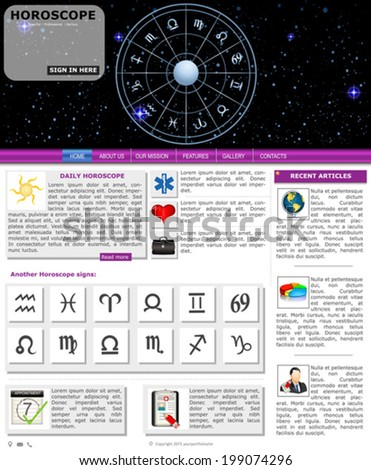 Website template design along with icons and images. Horoscope  - stock vector