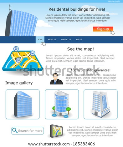 Website template design along with icons and images. Residential building for hire