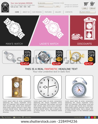 Website template design along with icons and images. Swatch sales. - stock vector