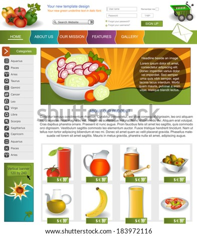 Website template design along with icons and images. vegetable related. - stock vector