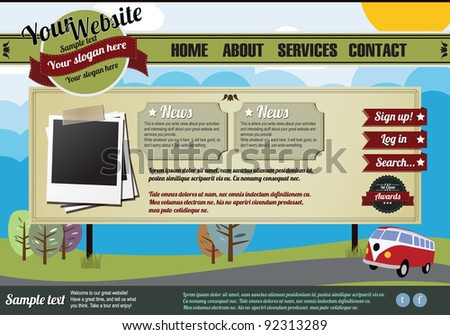 Website template design elements, vintage style - stock vector