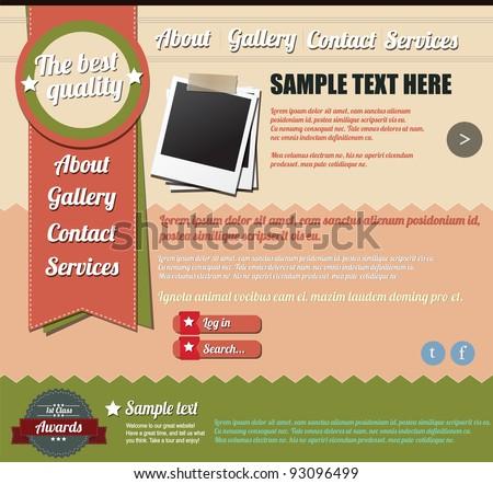 Website template design elements, vintage style - stock vector