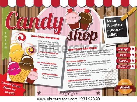 Website template design elements, vintage style, candy shop - stock vector