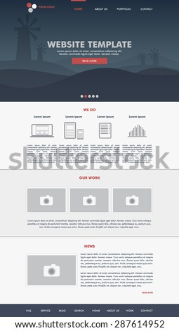 Website template design for your business in grey and blue colors. Modern flat website template design. EPS 10 - stock vector
