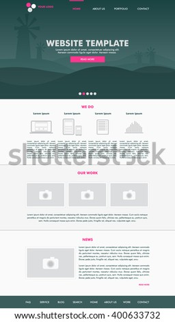 Website template design for your business in pink and dark green colors. Modern flat website template design. EPS 10